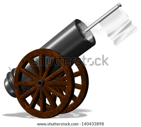 An illustration of old cannon with a white flag / Surrender