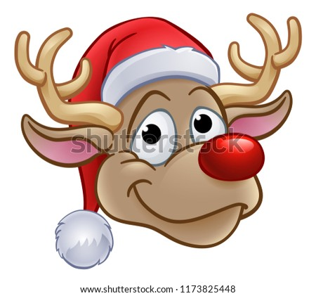 An illustration of reindeer in a Santa Claus hat Christmas cartoon character