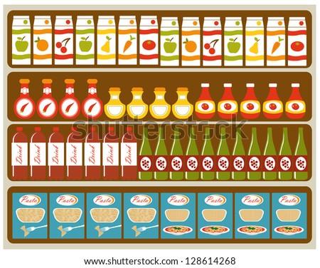 An illustration of store shelves
