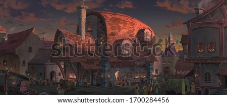 An illustration of the big medieval fantasy tavern in a town with beautiful sunset sky  scenery. Сток-фото ©