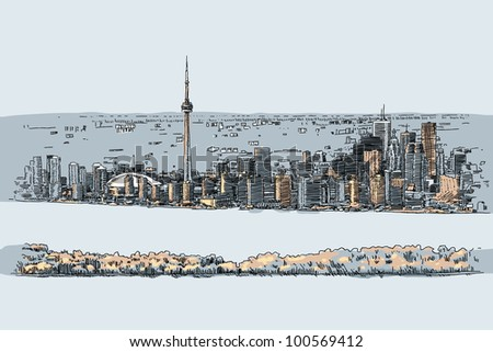 An illustration of the downtown of the city of Toronto, Canada.