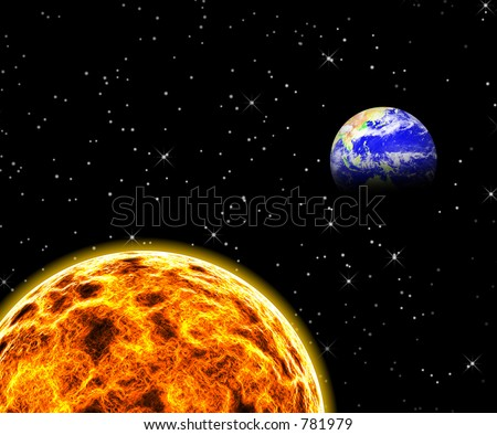 An illustration of the sun with the earth in the background