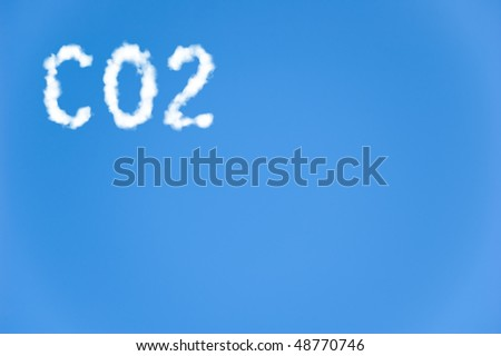 An illustration of the text CO2 made up of white puffy clouds to represent environmental issues or carbon footprint.