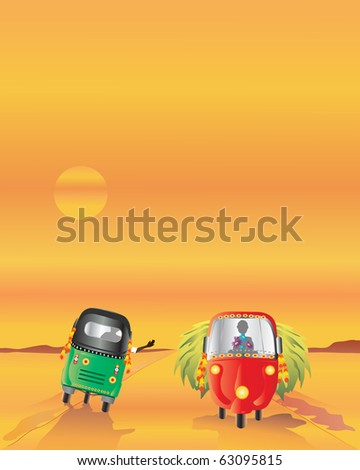 an illustration of two auto rickshaws passing each other on a dusty road at sunset