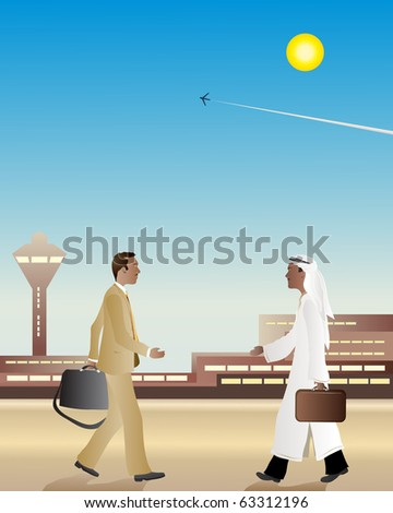 an illustration of two businessmen at an airport walking towards each other about to shake hands