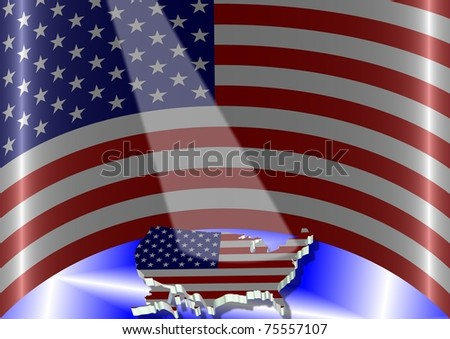 An illustration of USA flag in a semi circle position and in front of it is an outline shape of the country / USA flag