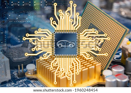 An illustration representing a computer circuit board and a car chip. Сток-фото ©