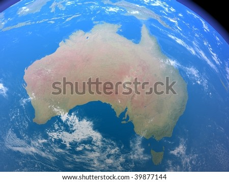 An illustration showing Australia as seen from space