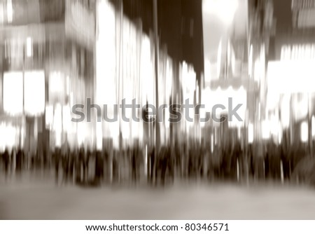 An illustrative motion blurred image of city life a night