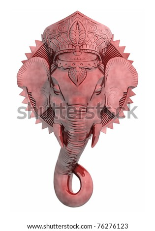 An image of a beautiful red ganesh sculpture