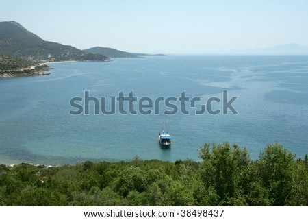 an image of a boat on aegean sea