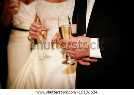 An image of a bride and groom holding champagne glasses