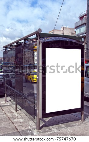 An image of a bus stop with a blank bilboard for your advertising situated in the turkish city of Istanbul.