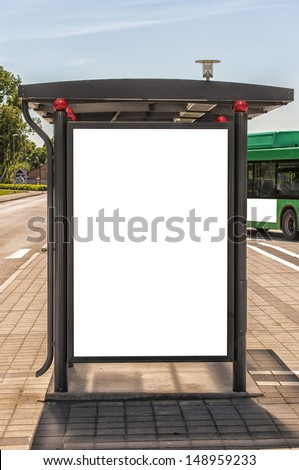 An image of a bus stop with a blank billboard for your advertising situated in the swedish city of Angelholm.
