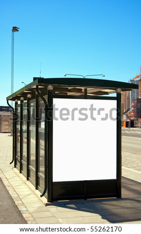 An image of a bus stop with a blank billboard for your advertising situated in the swedish city of Malmo.