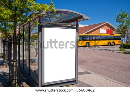 An image of a bus stop with a blank billboard for your advertising situated in the swedish town of Bastad.