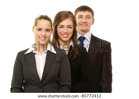 An image of a business people standing to each other - isolated on white background