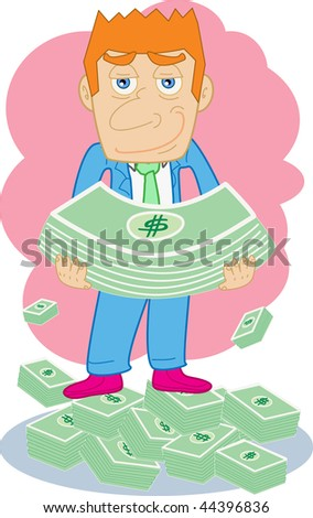 An image of a businessman standing with holding lots of dollars in his hands while there are stacks of dollars strewn around his feet