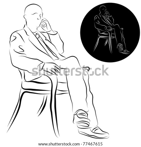 An image of a businessman talking on a phone line drawing.