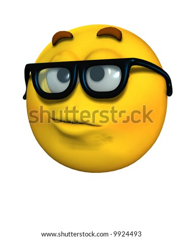 stock photo : An image of a cartoon face which represents being a smart or
