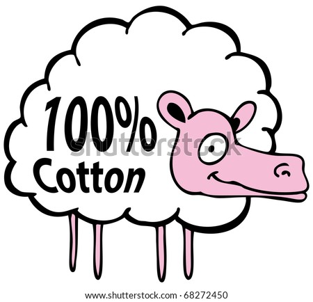An image of a cartoon sheep hundred percent cotton.