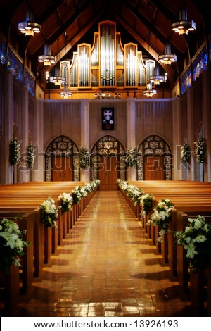 stock photo An image of a church sanctuary before a wedding ceremony