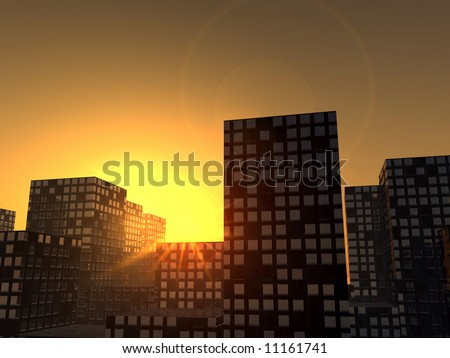 An image of a city full of skyscrapers with a setting or rising sun.