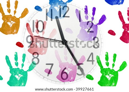 an image of a clock on handprint background