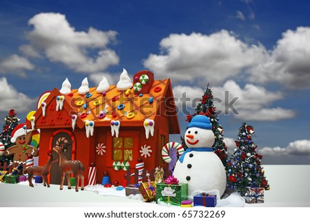 An image of a cute snowman against a Christmas colorful toy house.