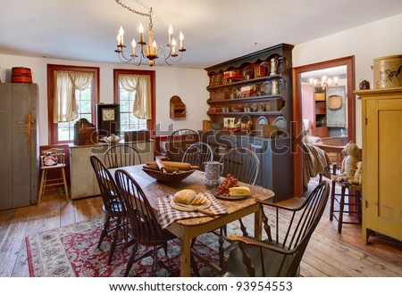 Dining Room on An Image Of A Dining Room And In A Primitive Colonial Style