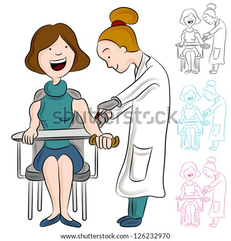 An image of a doctor taking blood from a patient.
