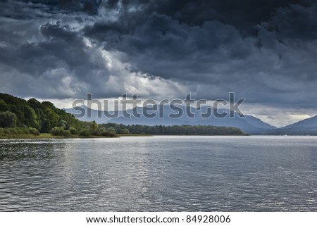 An image of a dramatic sky at the Chiemsee in Germany