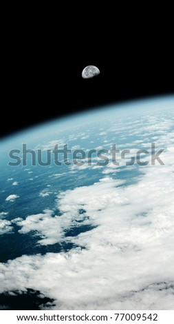 An image of a earth view and the moon