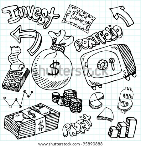 An image of a financial symbol doodle set.