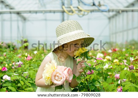 An image of a girl in a greenhouse #79809028