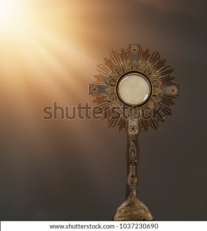 an image of a golden mostrance with sun light