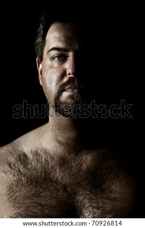 An image of a hairy man in a dark style
