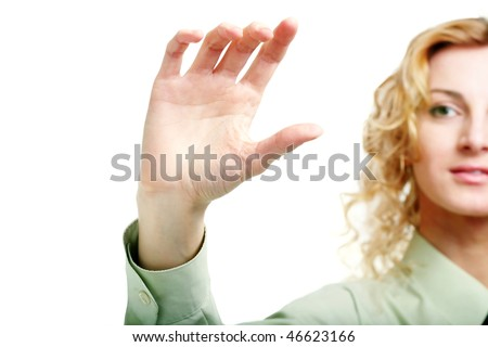 An image of a hand holding card - stock photo