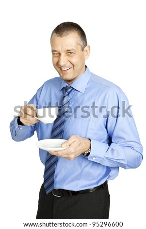 An image of a handsome business man coffee break