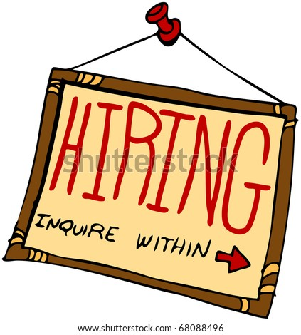 An image of a hiring sign inquire within. - stock photo