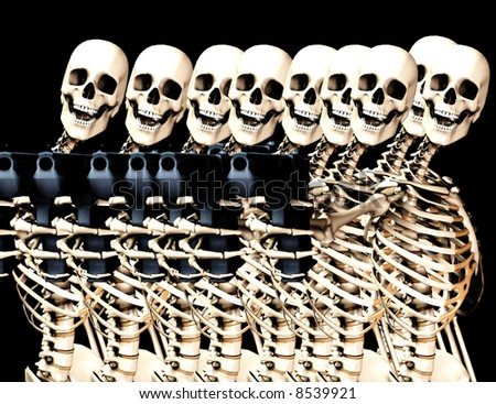 An image of a lot of skeletons with some  firearms, a possible interesting conceptual modern version of death. Or a medical image of  Skeletons in action.