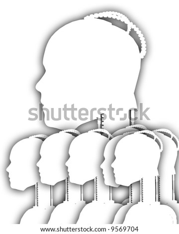 An image of a lot of technologically cybernetic women's outlines.