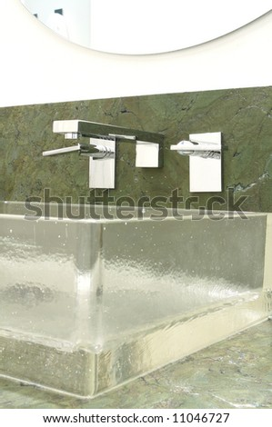 an image of a Luxury bathroom designer glass sink modern style