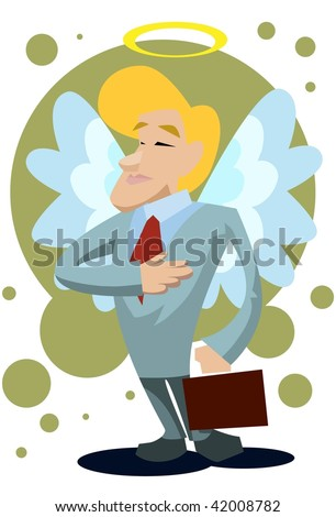 An image of a male angel with wings and halo and dressed up like a businessman carrying a briefcase - stock photo