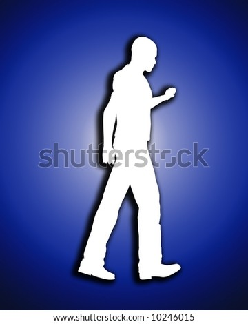 An image of a male outline that is walking, a good concept image for fitness.