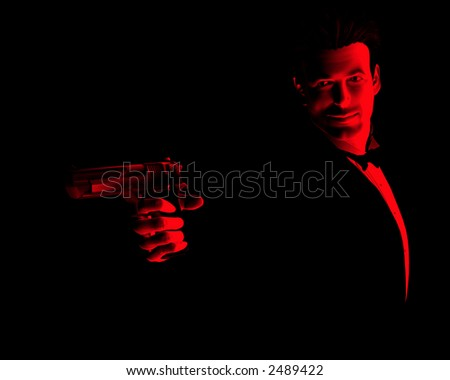 An image of a male spy with a gun.