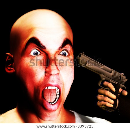 An image of a man in a state of fear as he has a gun pointed at his head.