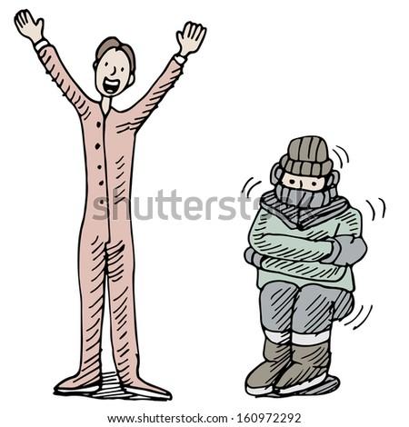 An image of a man kept warm wearing thermal undewear. ストックフォト ©