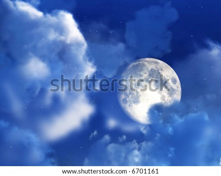 An image of a moon within some nightime clouds.