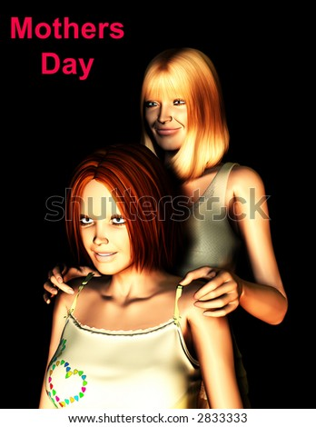 An image of a mother and daughter, this image would be suitable for Mothers Day concepts.